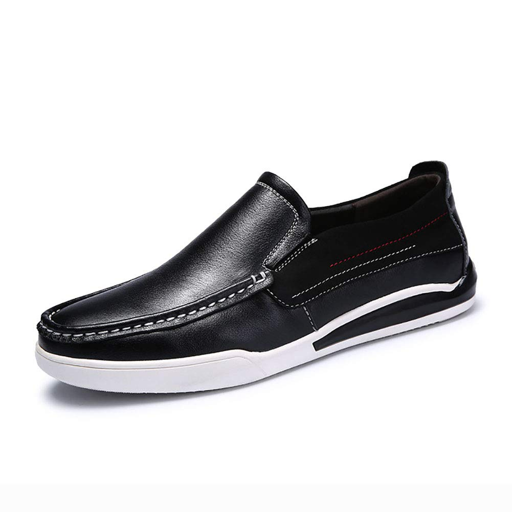 Black Men's shoes Leather Spring Fall Comfort Loafers & Slip-ONS Driving shoes for Casual Deck shoes Large Size