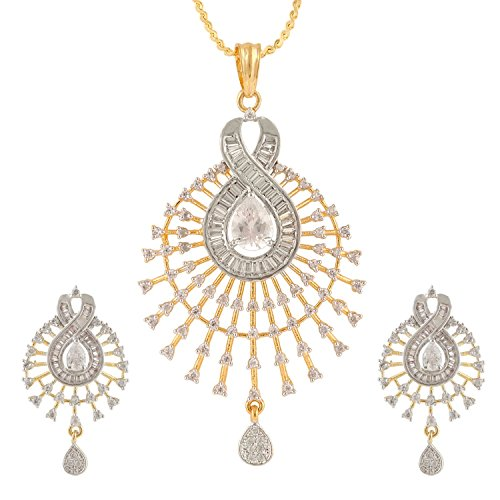 [Ananth Jewels Women's Swasti Jewels Peacock Shaped CZ Zircon Fashion Jewellery Set Pendant Earrings] (Best College Halloween Outfits)
