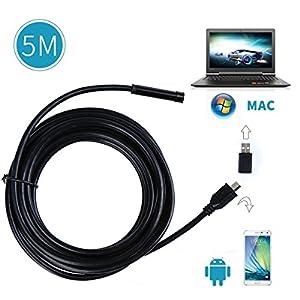 Crenova iScope Android Smartphone /PC/Laptop USB Endoscope 2.0 MP CMOS HD Borescope Waterproof Inspection Camera Snake Camera with OTG - 5M by Crenova
