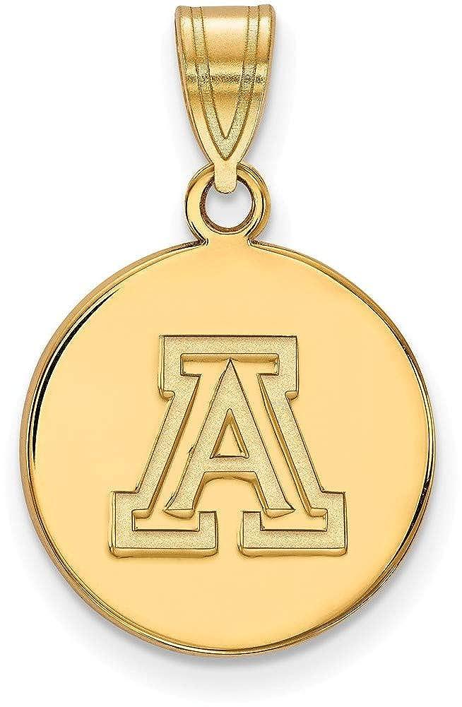 Gold-Plated Sterling Silver University of Arizona Med Pendant LogoArt GP040UAZ