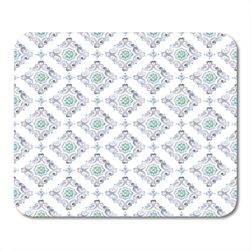 Nakamela Mouse Pads Silver Watercolor Filigree Medieval Delicate Italian Pastel Openwork Lace Gray Blue and Green Moroccan Mouse mats 9.5