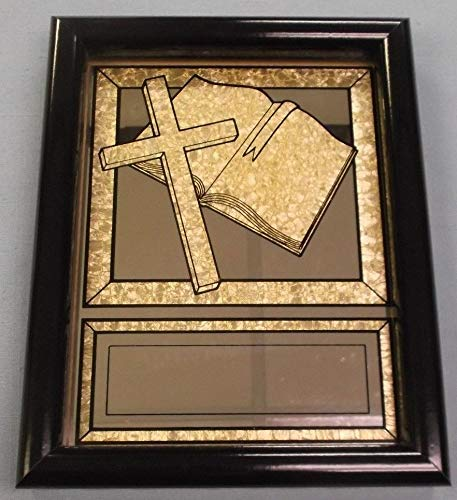 Bible and Cross Religion Award Framed Mirror 7 1/4