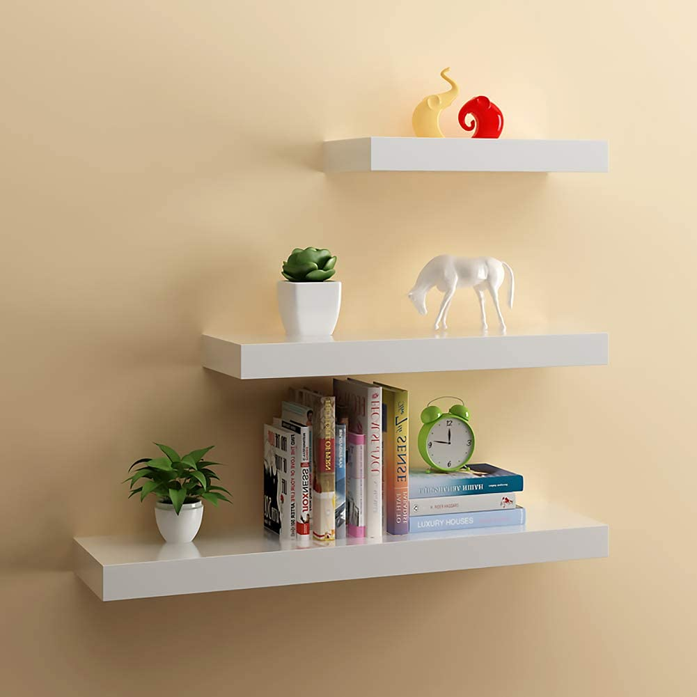 Floating Shelves,Wall Mount Display Shelf,Home Decor Shelves for Book,CD, DVD Toys Display Wall Shelf with Hidden Brackets Bedroom Kitchen Office and More,White.