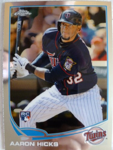 2013 Topps Chrome Baseball #179 Aaron Hicks RC (Rookie Card) Trading Card in a Protective Case With a Small Stand - Minnesota Twins
