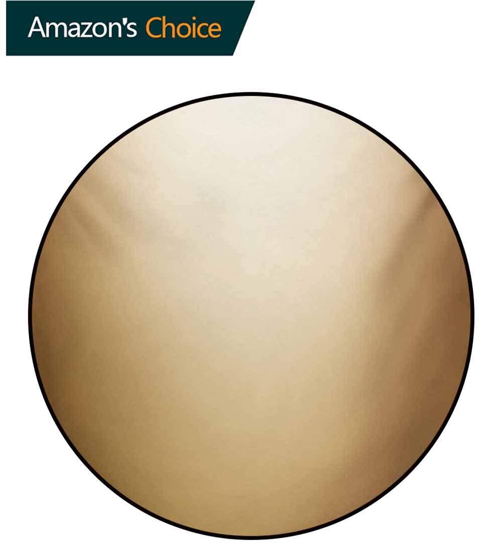 RUGSMAT Sepia Round Rug Kid Carpet,Abstract Gradient Display Soft Golden Brown Colored Plain Modern Digital Desgin Home Decor Foor Carpet,Diameter-47 Inch Ivory Sepia by RUGSMAT (Image #2)