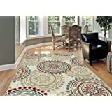 Universal Rugs 1011 Deco Transitional Area Rug, 5-Feet 3-Inch by 7-Feet 3-Inch, Ivory