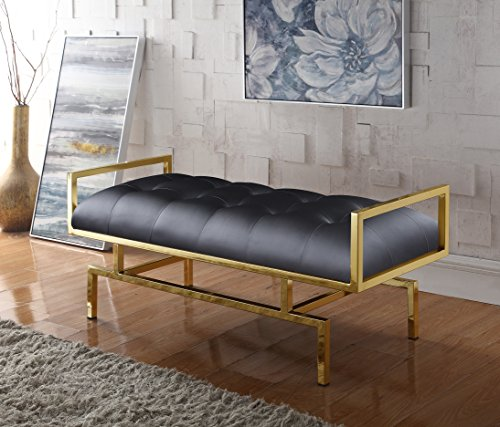- Iconic Home Bruno PU Leather Modern Contemporary Tufted Seating Goldtone Metal Leg Bench, Black