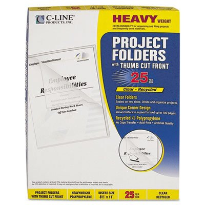 - Project Folders, Jacket, Letter, Poly, Clear, 25/Box, Total 250 EA, Sold as 1 Carton