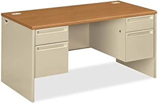 product image for HON 38000 Series Double Pedestal Desk, Harvest/Putty