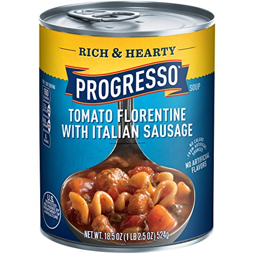 Rich Tomato - Progresso Soup, Rich & Hearty, Tomato Florentine with Italian Sausage Soup, 18.5 oz Cans (Pack of 12)