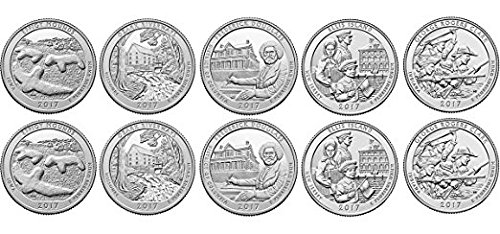 2017 d America The Beautiful complete set 5 coins Uncirculated From Bank Rolls