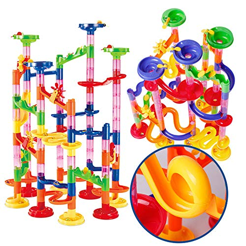 Marble Run Sets for Kids Educational-Chotop Marble run Coaster 105 Pieces,DIY Building Blocks Clear Glass Marbles Race Gravity Falls Kids Building Toys Toddler Roller Coaster Kids Blocks first builder