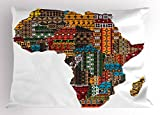 Lunarable African Pillow Sham, Africa Map with Countries Made of Architectural Feature Popular Ancient Continent, Decorative Standard King Size Printed Pillowcase, 36 X 20 inches, Multicolor