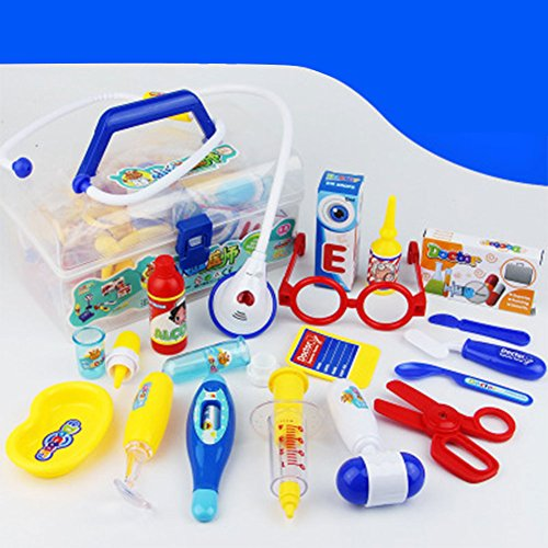 DSstyle 18Pcs Children Simulation Doctor Medicine Appliance Kit Pretend Play Toy Set 18 piece set base blue