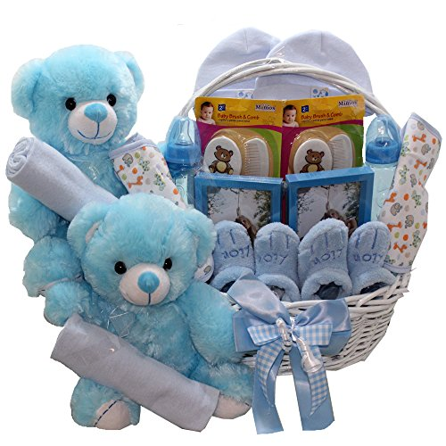 Double The Fun Twin New Baby Gift Basket, (2) Blue Boys
