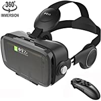 VR Mask Set Virtual Reality Glasses with Build-in Stereo Headphones and Remote Controller Movie Games 3D VR Headset fits the Myopia for iOS & Android & Windows Phones within 3.5-6.2 inches (Black Z4)
