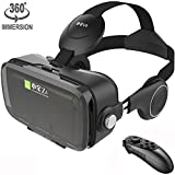 Cheap VR Mask Set Virtual Reality Glasses with Build-in Stereo Headphones and Remote Controller Movie Games 3D VR Headset fits the Myopia for iOS & Android & Windows Phones within 3.5-6.2 inches (Black Z4)