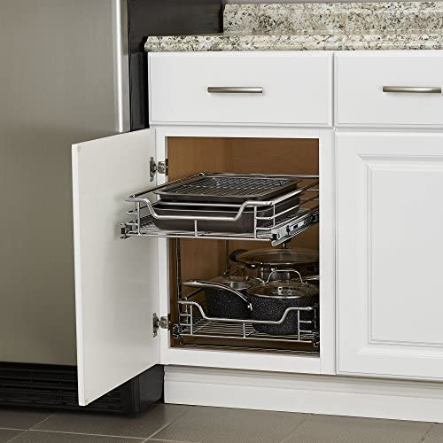 """51GyNwKYrHL. AC Household Essentials C21521-1 Glidez Dual 2-Tier Sliding Cabinet Organizer, 14.5"""" Wide, Chrome    This sliding under cabinet organizer has 2 independently sliding tiers and is 14.5""""W x 21""""D x 15.5""""H. Household Essentials glidez dual slide under cabinet sliding organizers attach to the bottom of kitchen and bathroom cabinets to quickly bring the back of the cabinet in reach. Their 2-tier of baskets slide in and out of the cabinet independently, making the bottom basket easier than ever to get into. These industrial organizers are made from premium chromed steel, with thicker, stronger wire than the competition. The sturdy vertical glides 2 inches tall and support up to 88 lbs. Glidez organizers create a custom kitchen with organization that fits your cabinets' width, depth, and height. Organizers slide all the way out of the cabinet, clearing the door completely when installed as directed. This means less bending and reaching to get to whatever you store in your cabinets. Perfect for kitchen storage, bathroom, storage, and even closets and pantries (glidez organizers can attach to commercial shelving with cb2000-6 brackets, sold separately) tailor your cabinet space and bring the back of the cabinet to you with glidez under cabinet storage and organization. Dual slide glidez under cabinet organizers are 15.5 inches high and 21 inches deep. They are available in 11.5 and 14.5 inch wide options."""