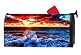 Customized Decorative Mailbox Covers and Wraps, Personalized Mail Wrap Covers for Standard Metal/Steel Mailboxes 6.5'' x 19'' - Ocean Waves Colorful Sunlight