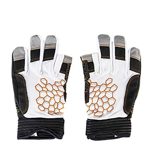 MRX BOXING & FITNESS Sailing Gloves Sticky Palm Gripy Glove Yachting Kayak Dinghy Fishing 2 Cut Finger (White 2-XL) by MRX BOXING & FITNESS (Image #1)