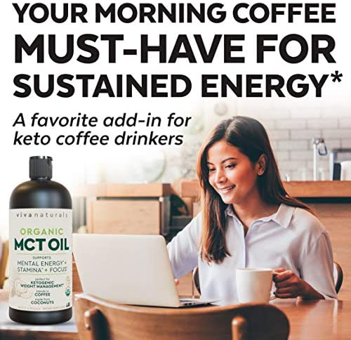 Organic MCT Oil for Morning Coffee - Best MCT Oil Keto Supplement for Sustained Energy, Paleo Diet Certified, 32 fl oz 3