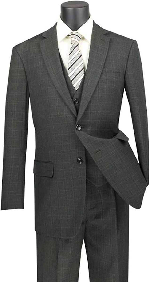VINCI Men's Window Pane 2 Button Single Breasted Classic Fit Wool Feel Suit W/Vest V2RW-15