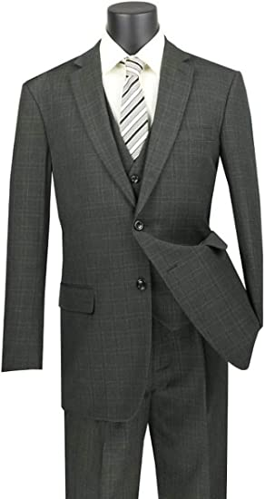 Men/'s Wool Classic Formal Windowpane Suits 2 Pieces Business Office Tuxedos  NEW