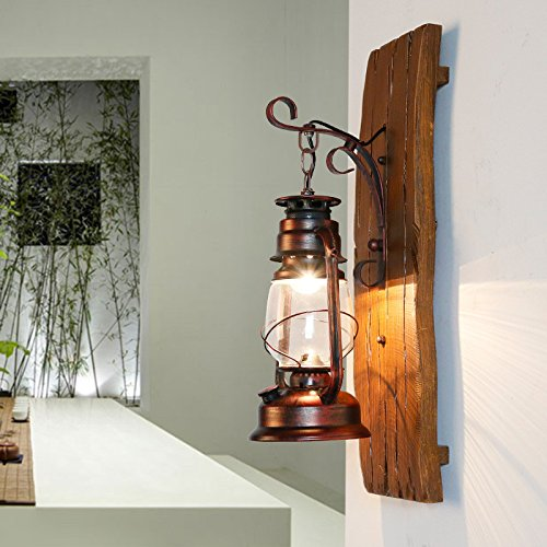 American Country Iron Wood Kerosene Lantern Creative Hand Carved Wooden Antique Mediterranean Glass Wall Lamp Light 190300Mm Outdoor Kids Living Room Bedroom Wedding Birthday Party Gift by GAW Lighting Co.Ltd (Image #1)