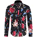 Cloudstyle Men's Slim Fit Long-Sleeve Floral Shirt