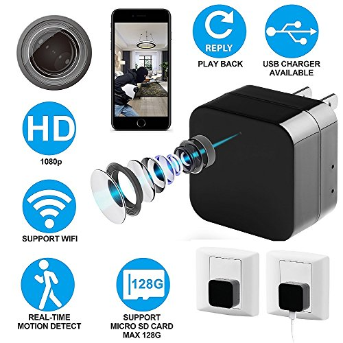 Spy Camera with HD 1080P Video - Motion Detection - WiFi Remote View - usb Wall Charger - Alarm Message -Supports 128GB Micro SD Card - Wireless Hidden Camera - Nanny Cam, Koozam (Side View Smoke Detector)
