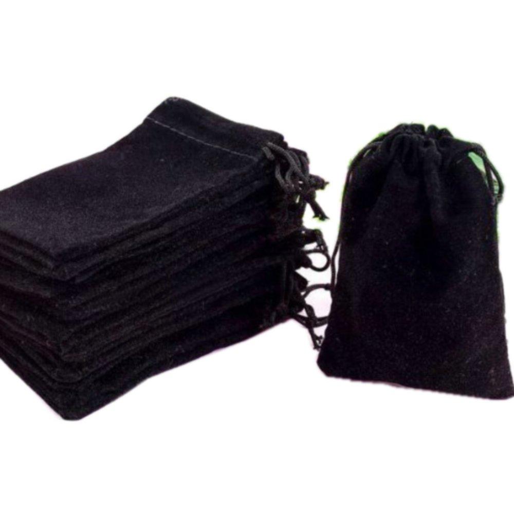 HOSL 50 Pieces Wholesale Lot - Black Velvet Cloth Jewelry Pouches / Drawstring Bags 3 X 4 (50, Black)