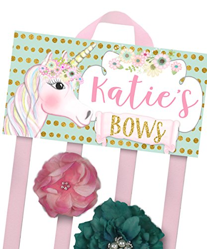 HAIR BOW Holder - Personalized Mint Gold Pink Unicorn HairBow Holder Girls Personal Hair Bow and Clip Hanger HB0197