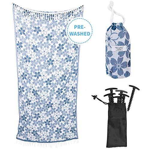 100% Turkish Cotton Designer Towel Set with Stakes and Travel Bag - Beach Bath Pool Vacation Yoga - Sand Free, Lightweight, Thin, Quick Dry - Large Oversized Peshtemal Hammam Fouta (Blue) ()
