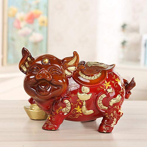MAFYU Resin Retro red Green Pig Piggy Bank Ornaments by MAFYU (Image #3)