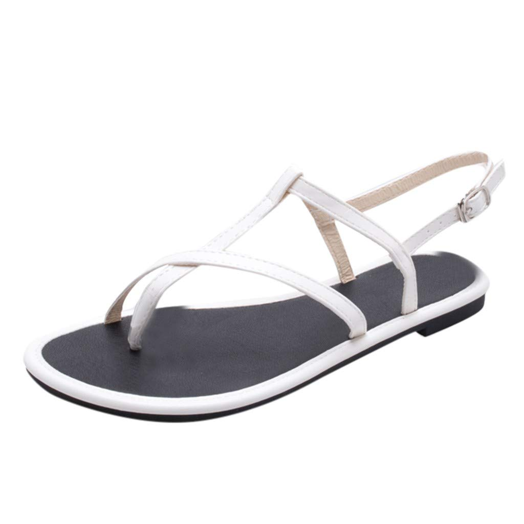 2019 New! Women Double Buckle Flat Beach Sandals Thick Bottom Platform Anti Skidding Slippers Shoes (White, 6 M US)