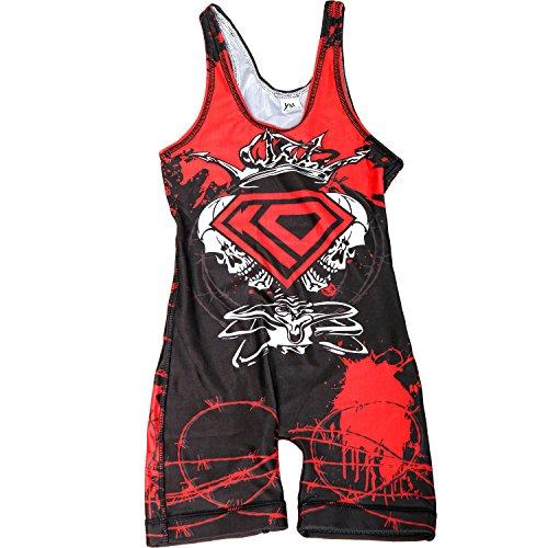 KO Sports Gear - Wrestling Singlet - Skull Design - NEW Improved Pattern (Adult S)