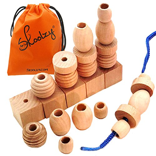 Skoolzy Wood Lacing Beads for Kids - 25 Natural Wooden Beads Materials - Shape Sorting Montessori Toys for Toddlers Learning Activities - Waldorf Manipulatives For Preschoolers Fine Motor Skills Toys