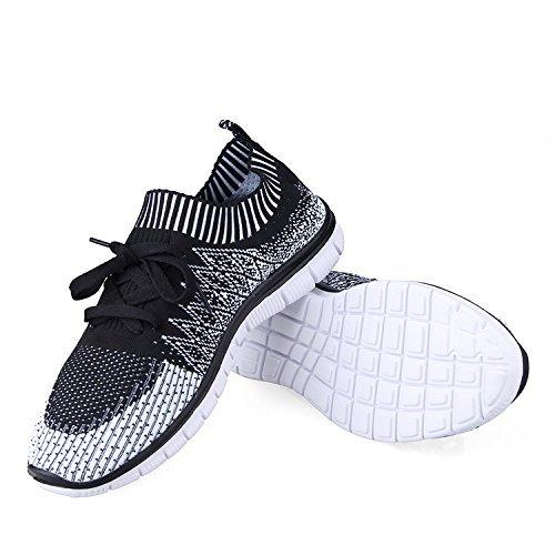 Eyeones Mens Knit Sneaker Légères Chaussures De Course À Pied Respirant Athlétique Casual Chaussures Noir