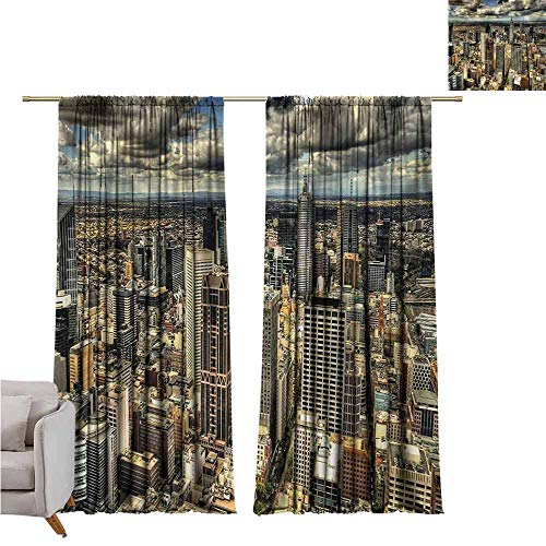 GUUVOR Urban Wear-Resistant Color Curtain Melbourne Cityscape Modern Australia Architecture Buildings Metropolis Dramatic Sky Waterproof Fabric W52 x L108 Inch Multicolor (Outdoor Bamboo Furniture Australia)