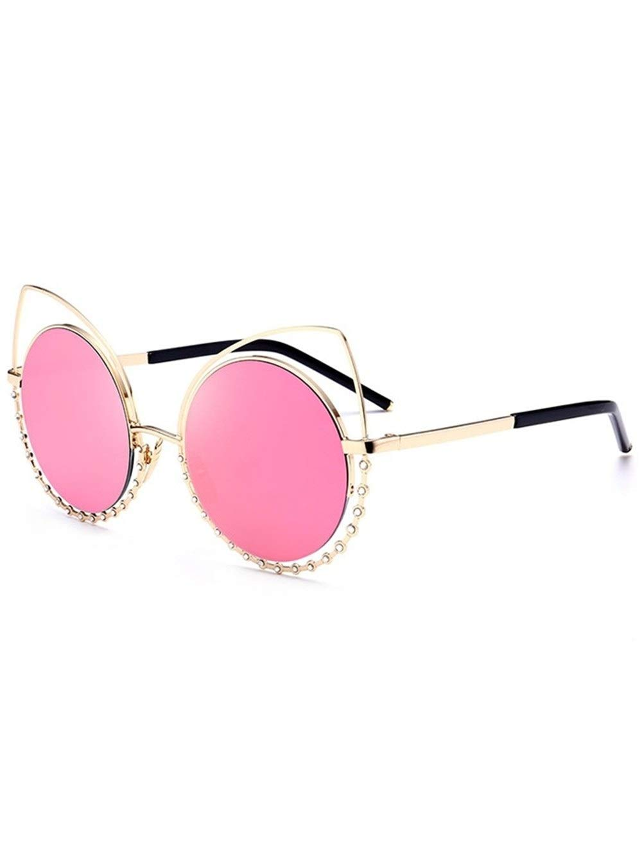 Lunettes de soleil œil de chat en métal strass Petites lunettes de soleil ovales, Lunettes de vue rondes et élégantes rondes vintage Vintage HD pour hommes, femmes, filles, cadre noir et verres gris