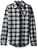 Oakland Raiders 2016 Wordmark Basic Flannel Shirt - Womens Small