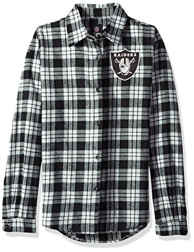 Oakland Raiders 2016 Wordmark Basic Flannel Shirt - Womens Small by Forever Collectibles