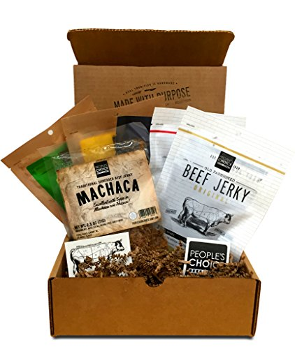 People's Choice Beef Jerky - Jerky Box - Health Nut - Gluten-Free, High Protein, Keto-Friendly - Meat Snack Sampler Gift Basket for Guys - 6 Items