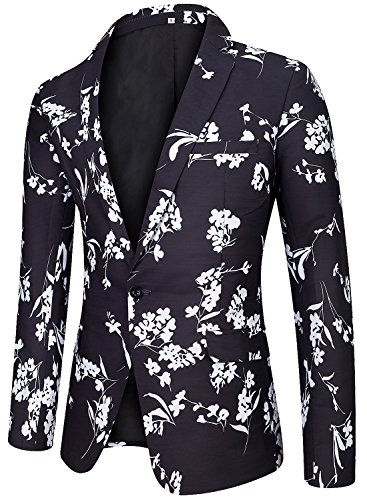Fully Lined Tailored Blazer (Men's Regular Fit Casual One Button Blazer Jacket Summer Fitted Sports Suit Coat Floral D X-Large)