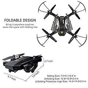 FPV RC Drone with WiFi HD Wide-angle Camera Live Video Teeggi XS809HW Training Quadcopter for Beginners with Altitude Hold One Key Start/Landing/Return Easy Operation, Bonus Battery with SD Card by Teeggi