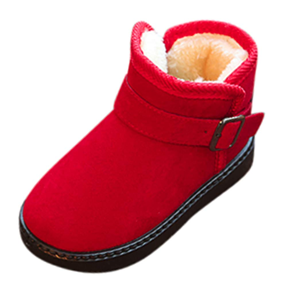Winter Clearance Kids Warm Plus Velvet Non-Slip Fashion Casual Shoes Girls Boys Snow Boots Red, US Size:10.5