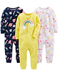 Baby and Toddler Girls' 3-Pack Snug Fit Footless Cotton...