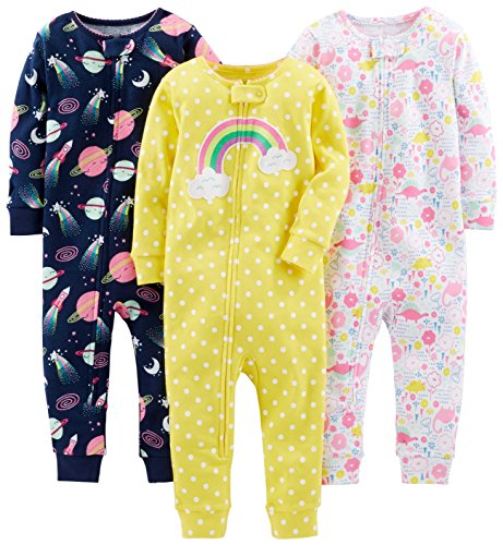 (Simple Joys by Carter's Baby Girls' 3-Pack Snug Fit Footless Cotton Pajamas, Dinosaur, Space, Rainbow, 18 Months)