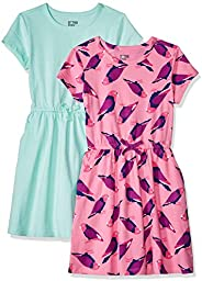 Spotted Zebra Girls' Toddler & Kids 2-Pack Knit Short-Sleeve Cinch Waist