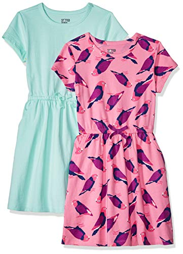 Spotted Zebra Big Girls' 2-Pack Knit Short-Sleeve Cinch Waist Dresses, Birds/Aqua, Medium (8) -